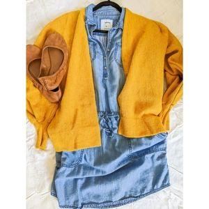 Sonoma Chambray Button Sleeve Tie Midi Dress
